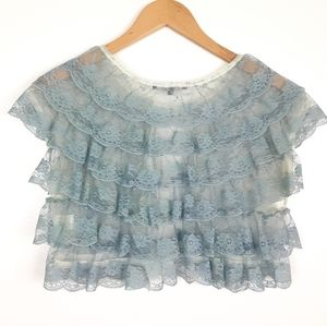 My Beloved Lace shrug top size Small Blue
